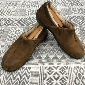 UGG Sherpa Flat Loafer Slipper Suede Size 10